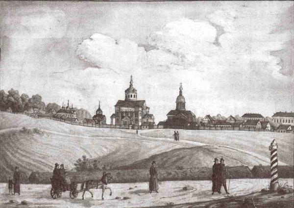 Смыслов Ф., Общий вид Рогожского кладбища, 1830-е гг. Акварель